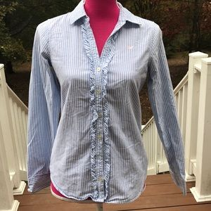 Vineyard Vines button front ruffle striped shirt 2